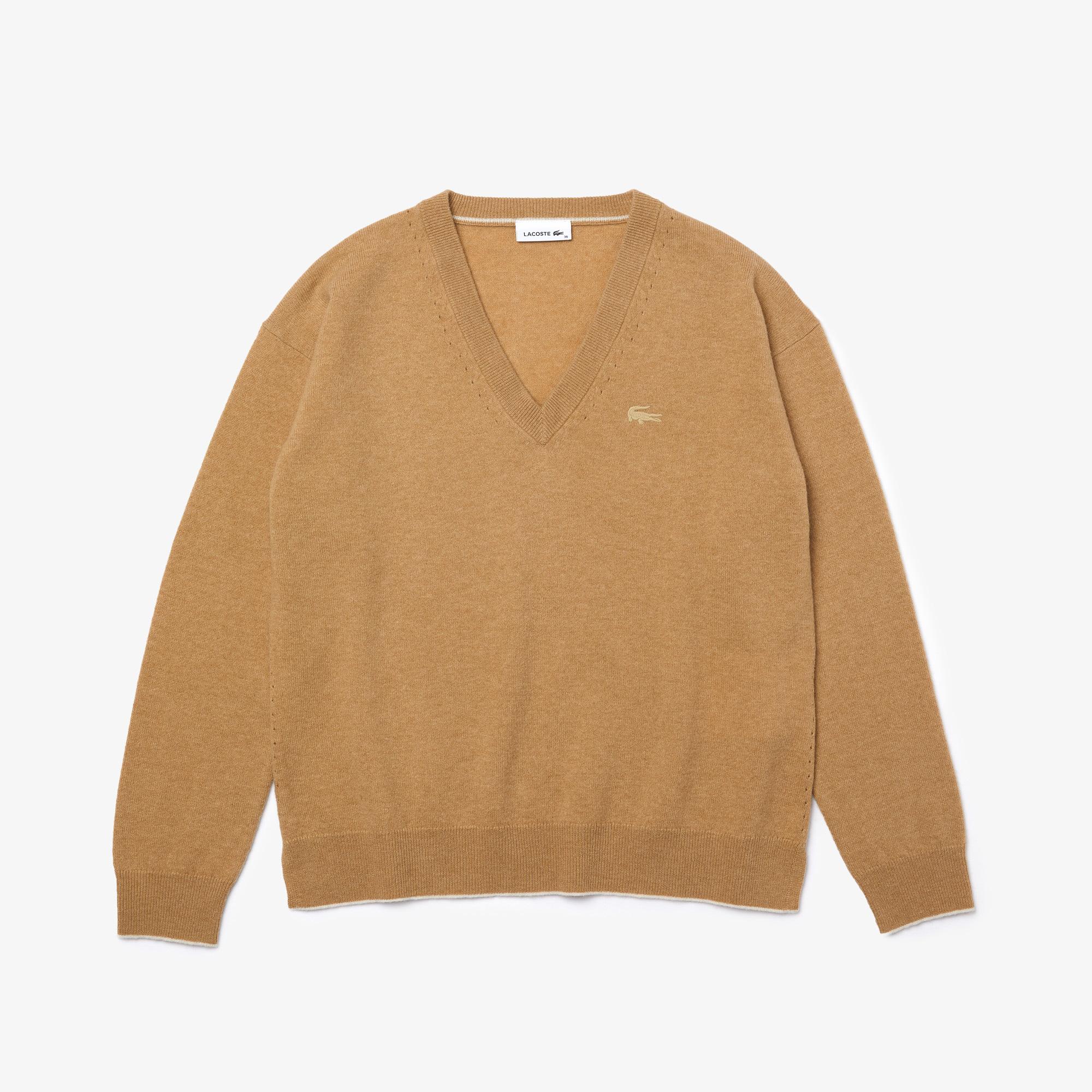 Lacoste Damski Wełniany Sweter Z Dekoltem W Kształcie Litery V