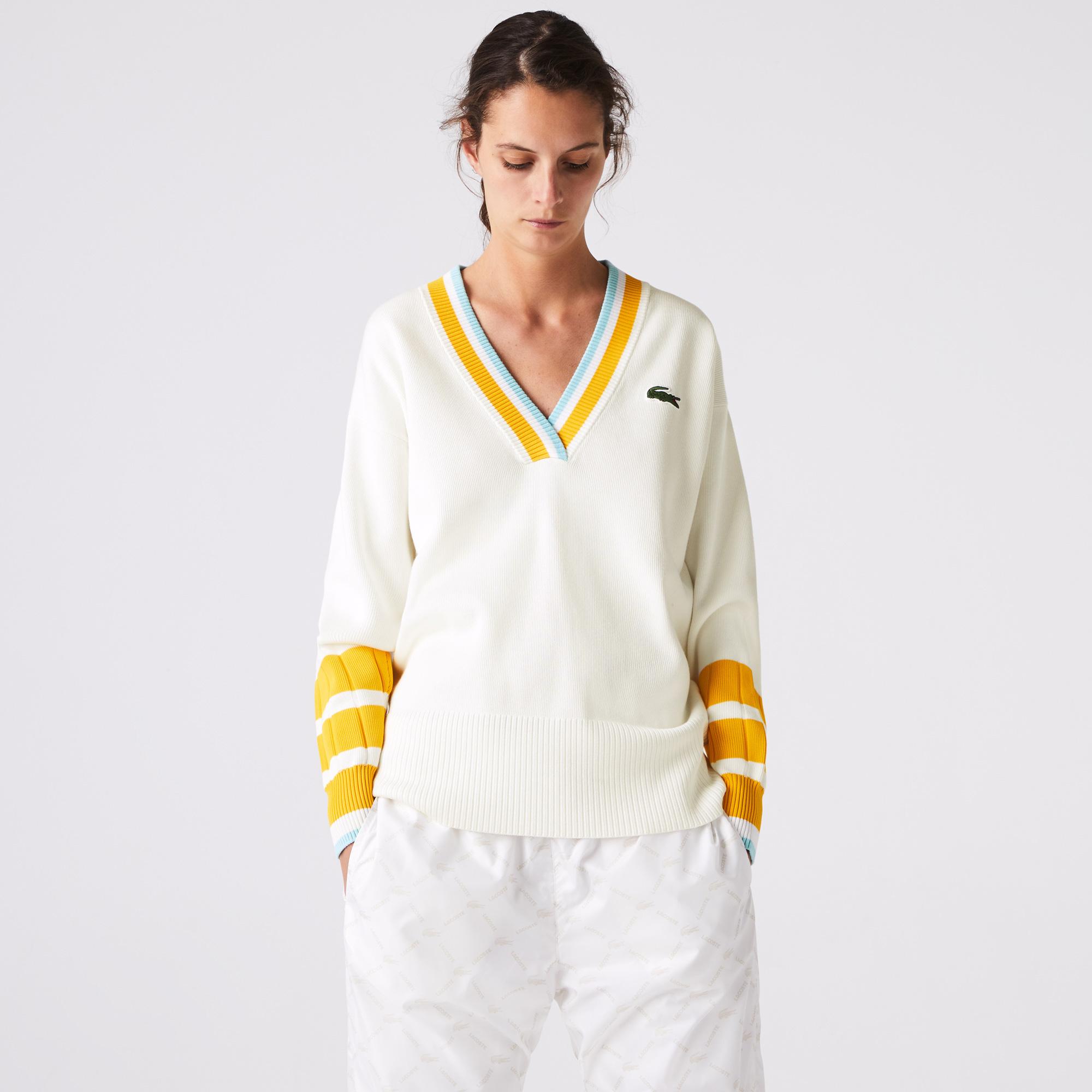 Lacoste Damski Sweter Z Dekoltem W Kształcie Litery V O Luźnym Kroju Z Mieszanki Bawełny
