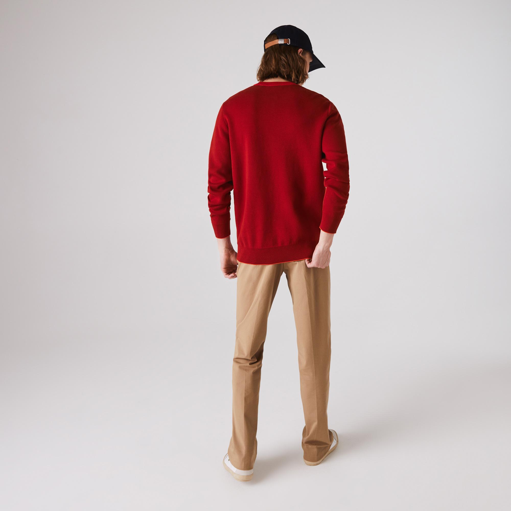 Lacoste Męski Kontrastowy Sweter Z Bawełny Organicznej Z Lamówką