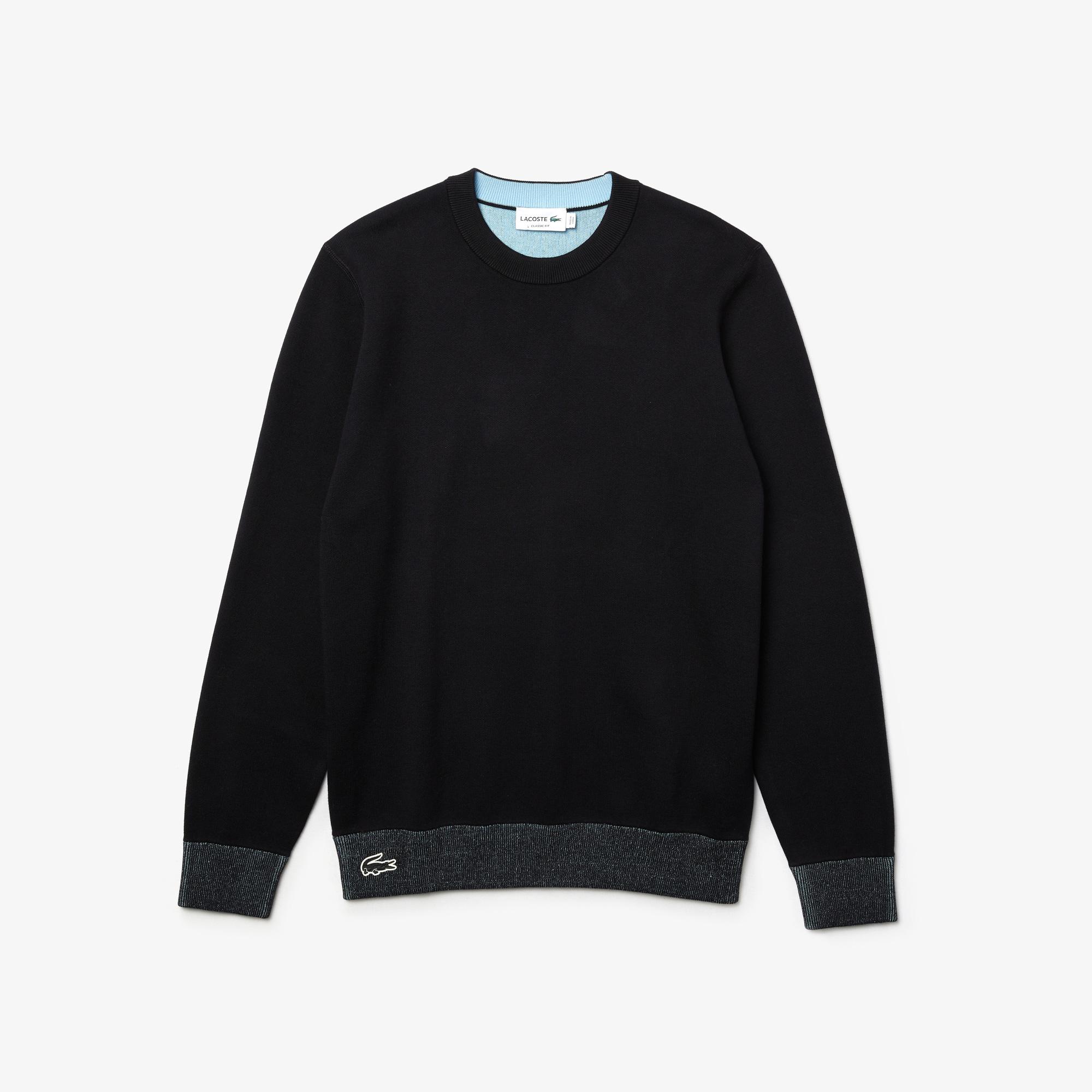Lacoste Męski Dwustronny Kontrastowy Sweter Z Okrągłym Wycięciem Pod Szyją
