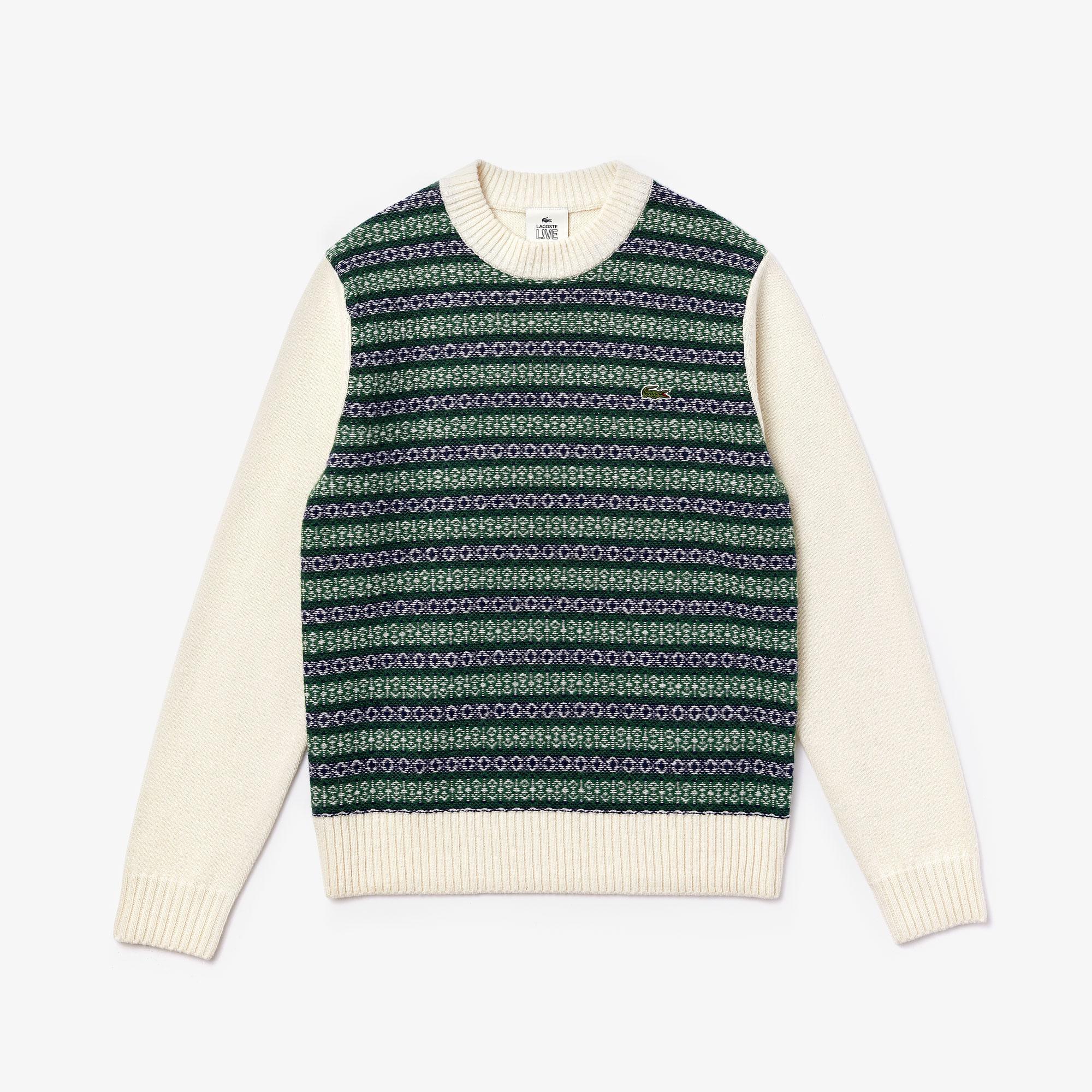 Lacoste Unisex Live Sweter Z Mieszanki Wełny Z Motywem Żakardowym Z Okrągłym Wycięciem Pod Szyją