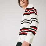 Lacoste Made In France Męski Prążkowany Sweter Z Organicznej Bawełny Z Okrągłym Wycięciem Pod Szyją