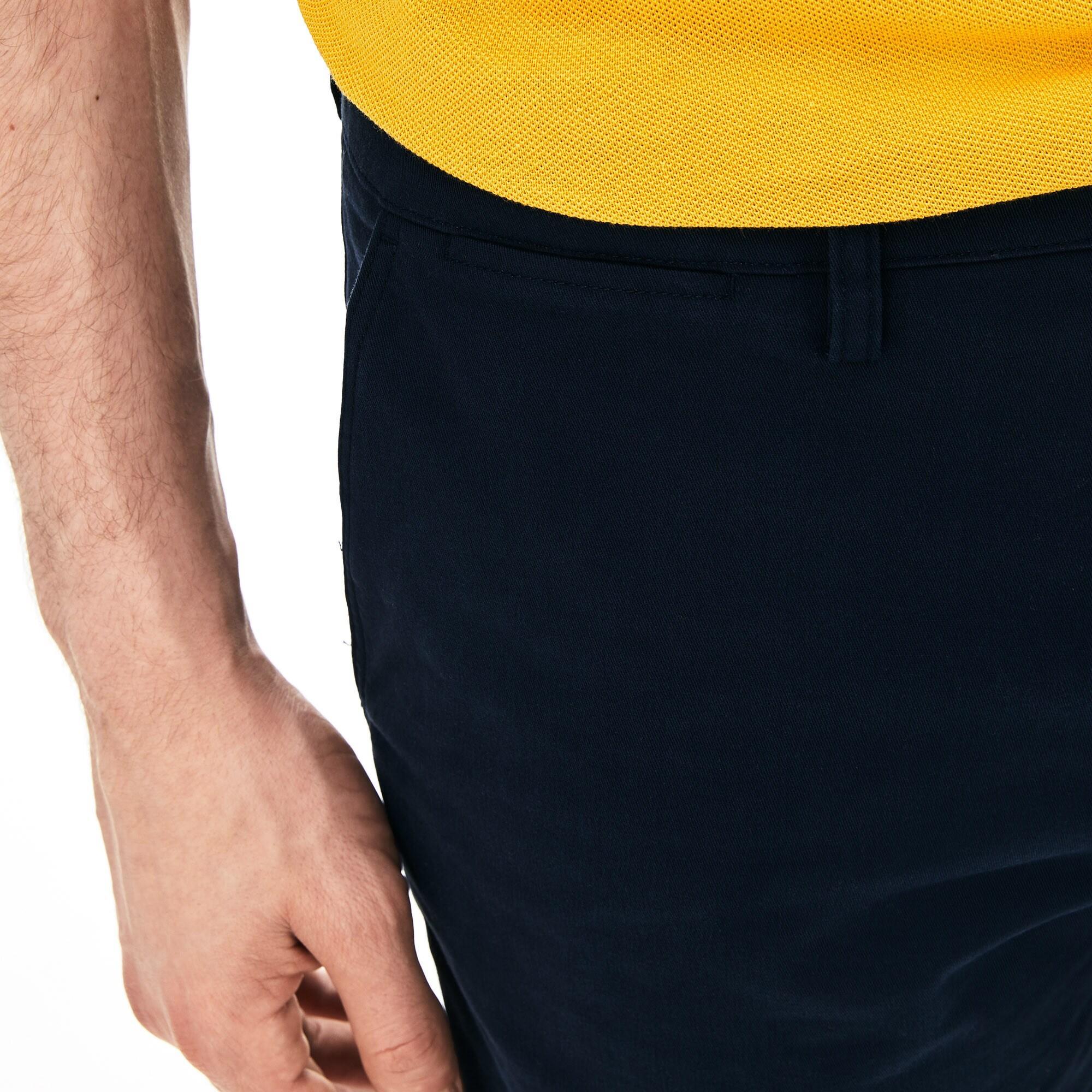 Lacoste Męskie Bermudy Slim Fit Z Elastycznej Gabardyny