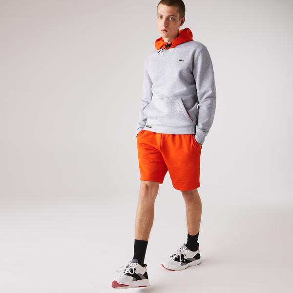 Lacoste Sport Męska Kontrastowa Polarowa Bluza Z Kapturem