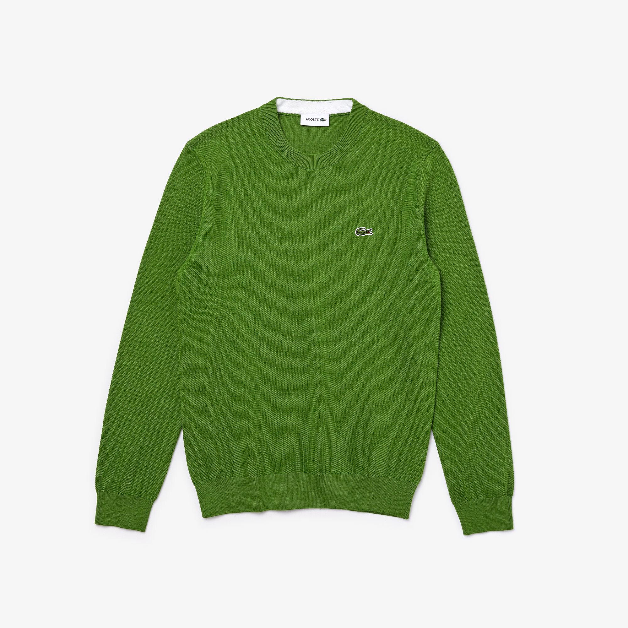 Lacoste Męski Sweter z Piki Bawełny Organicznej, z Okrągłym Wycięciem pod Szyją