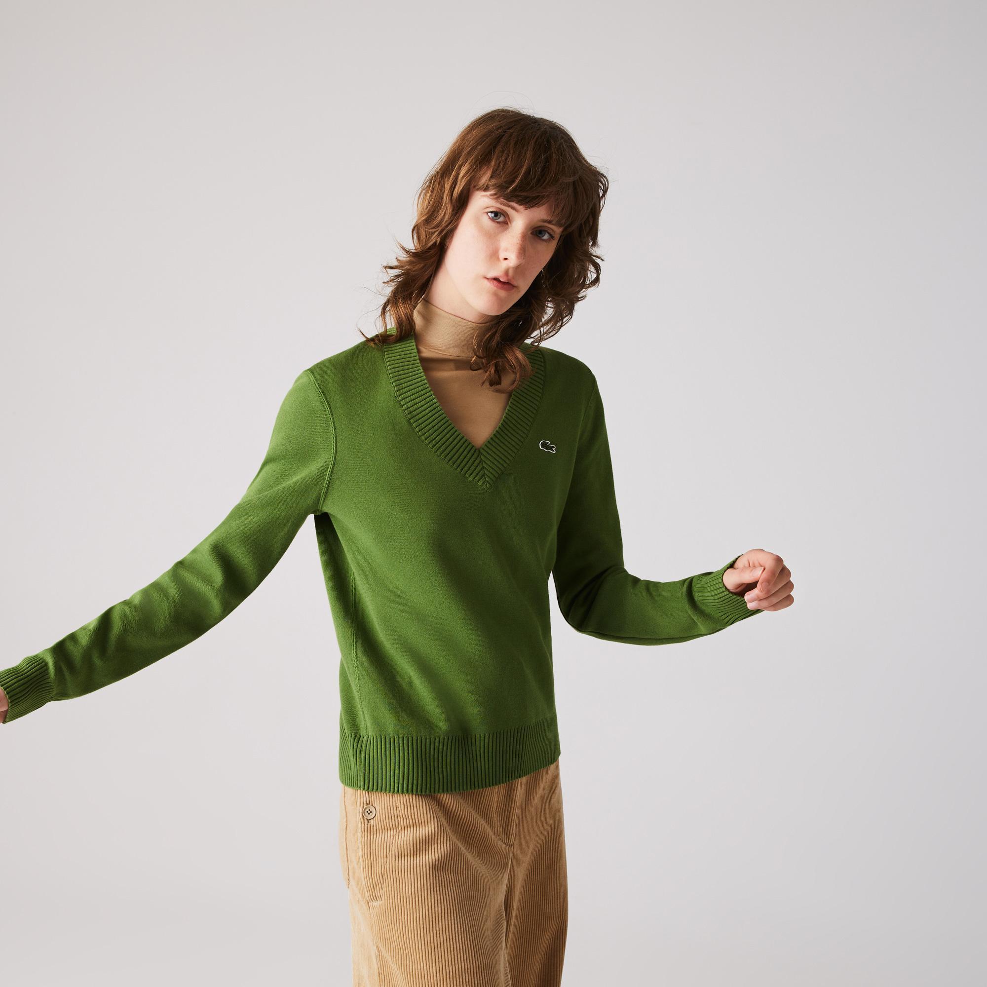 Lacoste Damski Sweter Z Bawełny Organicznej Z Dekoltem W Kształcie Litery V