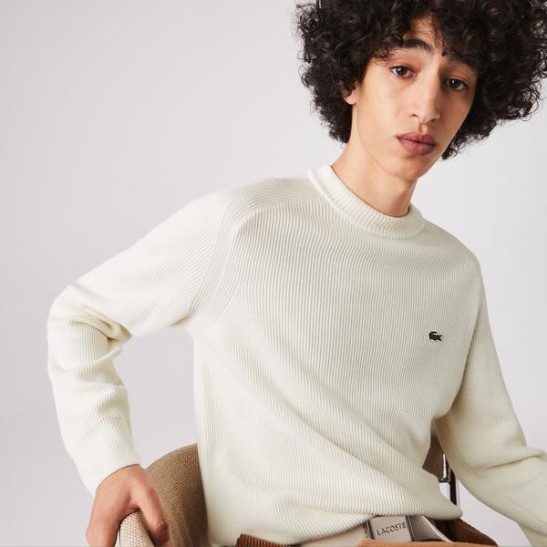 Lacoste Męski Prążkowany Sweter Z Mieszanki Wełny Z Okrągłym Wycięciem Pod Szyją
