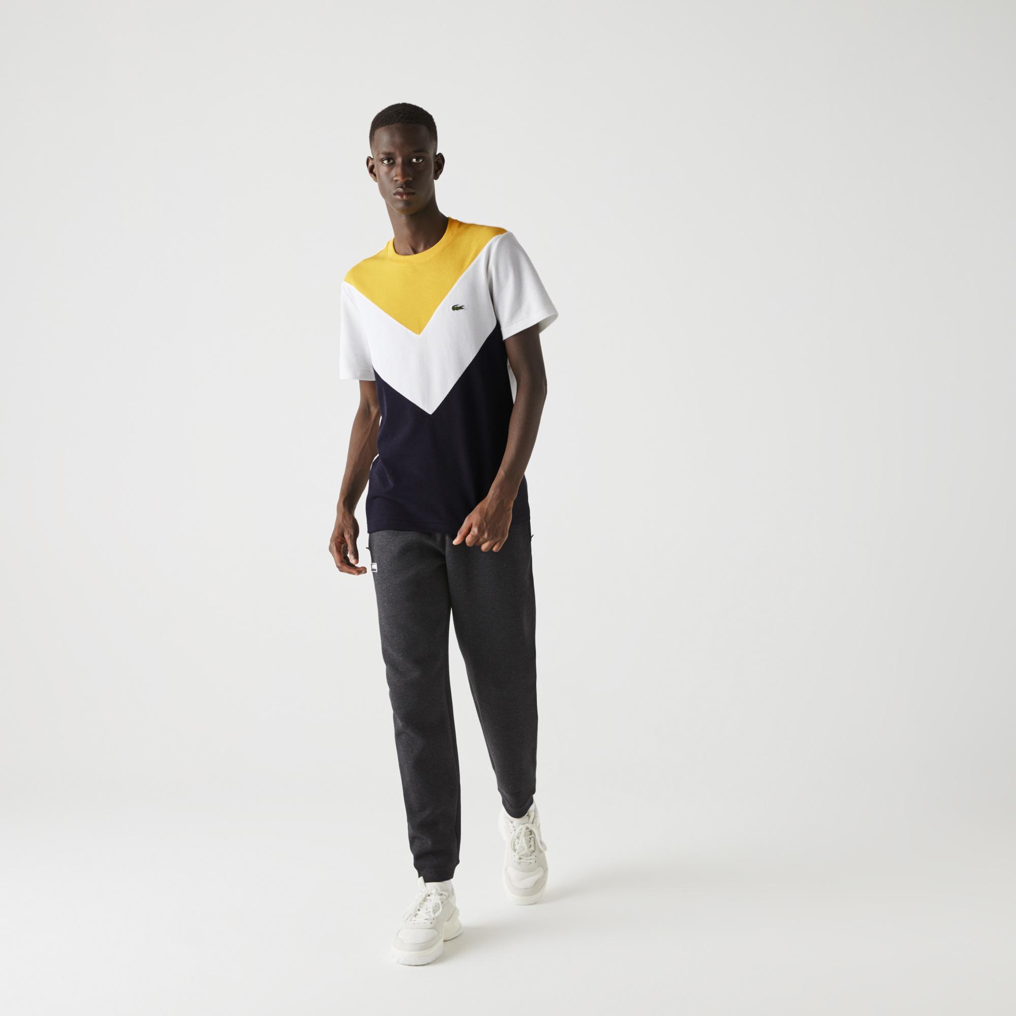 Lacoste Męski T-Shirt Z Piki Z Mieszanki Bawełny Z Okrągłym Wycięciem Pod Szyją W Bloki Kolorystyczne