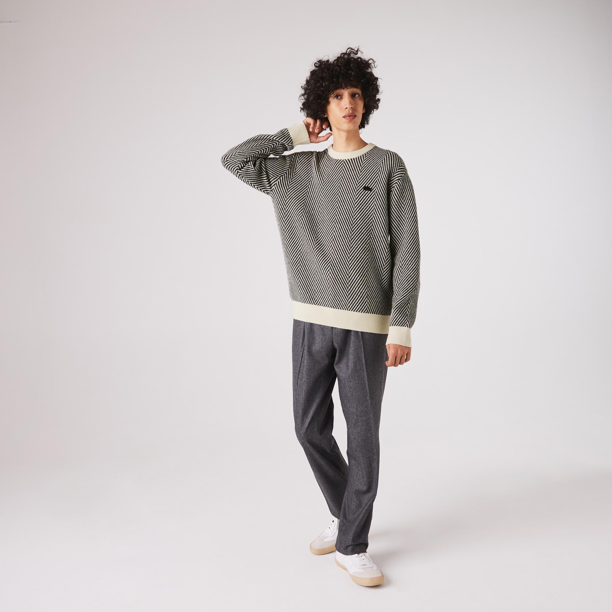 Lacoste Męski Teksturowany Ekologiczny Wełniany Sweter Z Okrągłym Wycięciem Pod Szyją