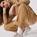 Lacoste Live Damskie Luźne Prążkowane Aksamitne Spodnie Z Wysokim Stanem