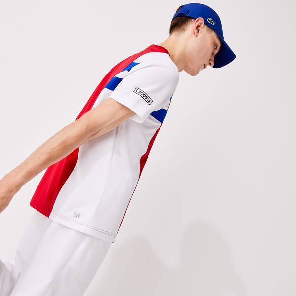 Lacoste Sport Męski T-Shir Do Gry W Tenisa Z Oddychającej Piki Z Blokami Kolorystycznymi
