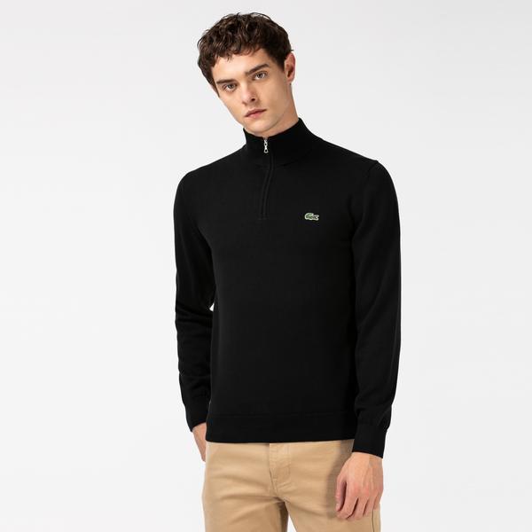 Lacoste Męski Sweter Z Bawełny Organicznej Zapinany Na Zamek Pod Szyją