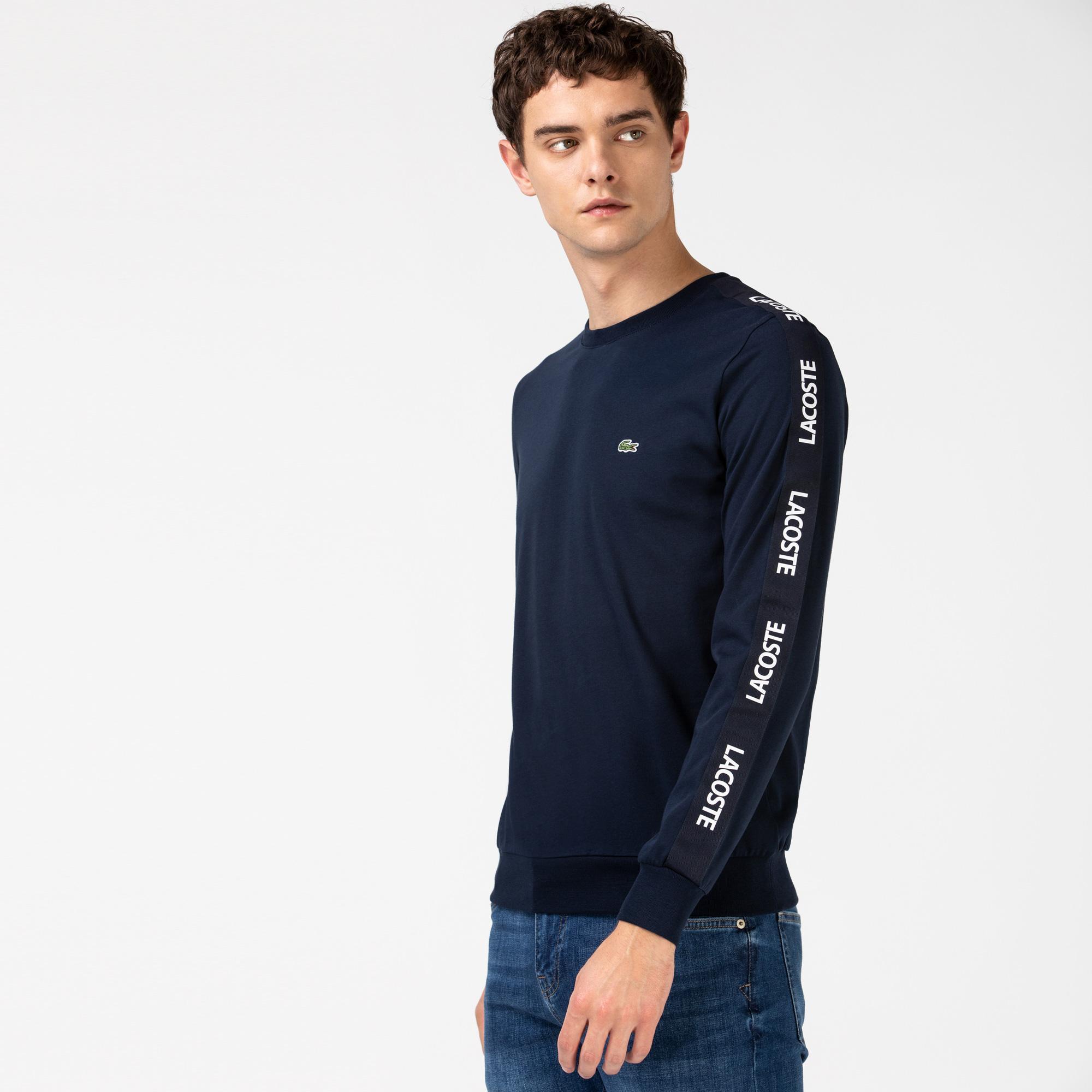 Lacoste Męski Granatowy T-shirt z Długim Rękawem i Nadrukiem