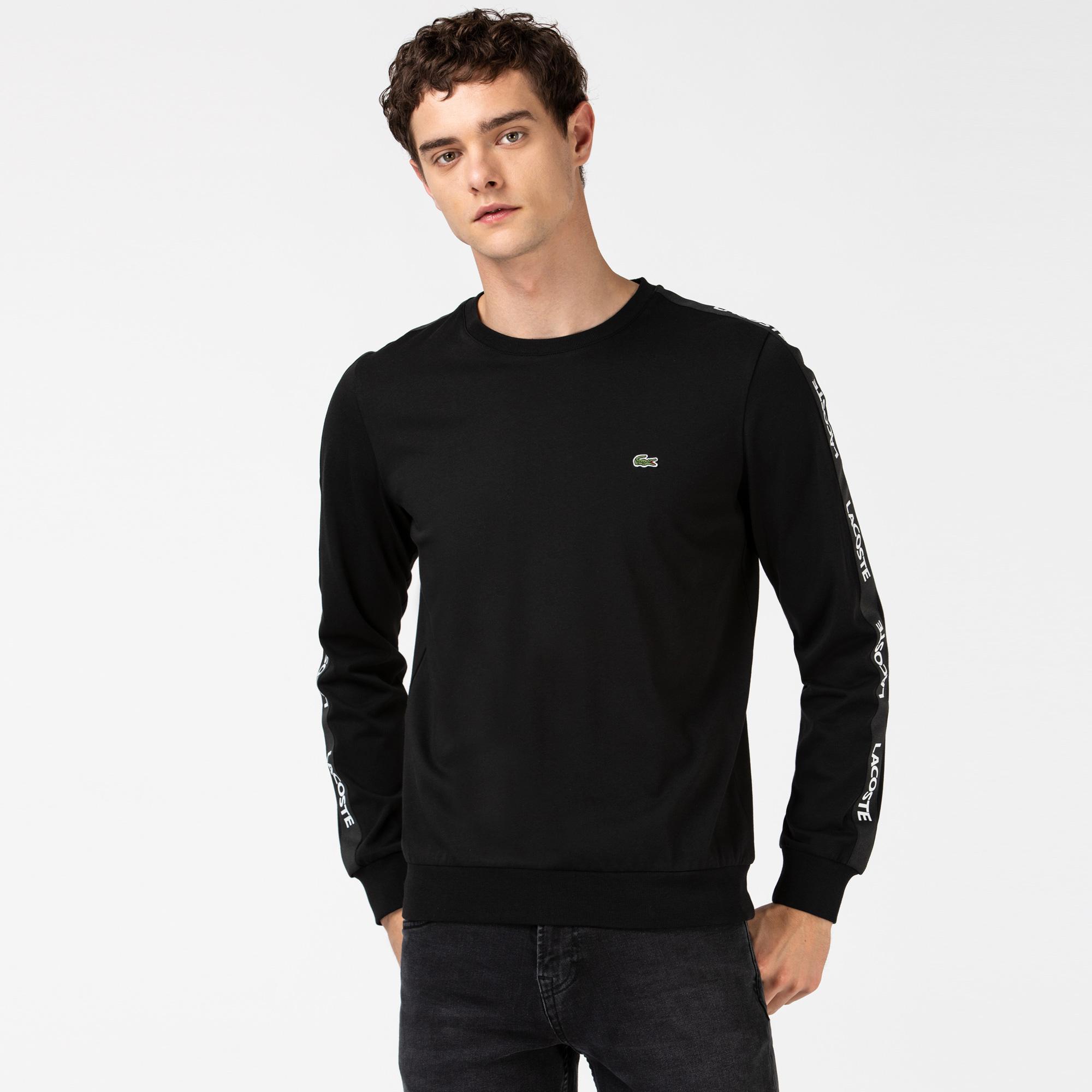 Lacoste Męski Czarny T-shirt z Długim Rękawem i Nadrukiem
