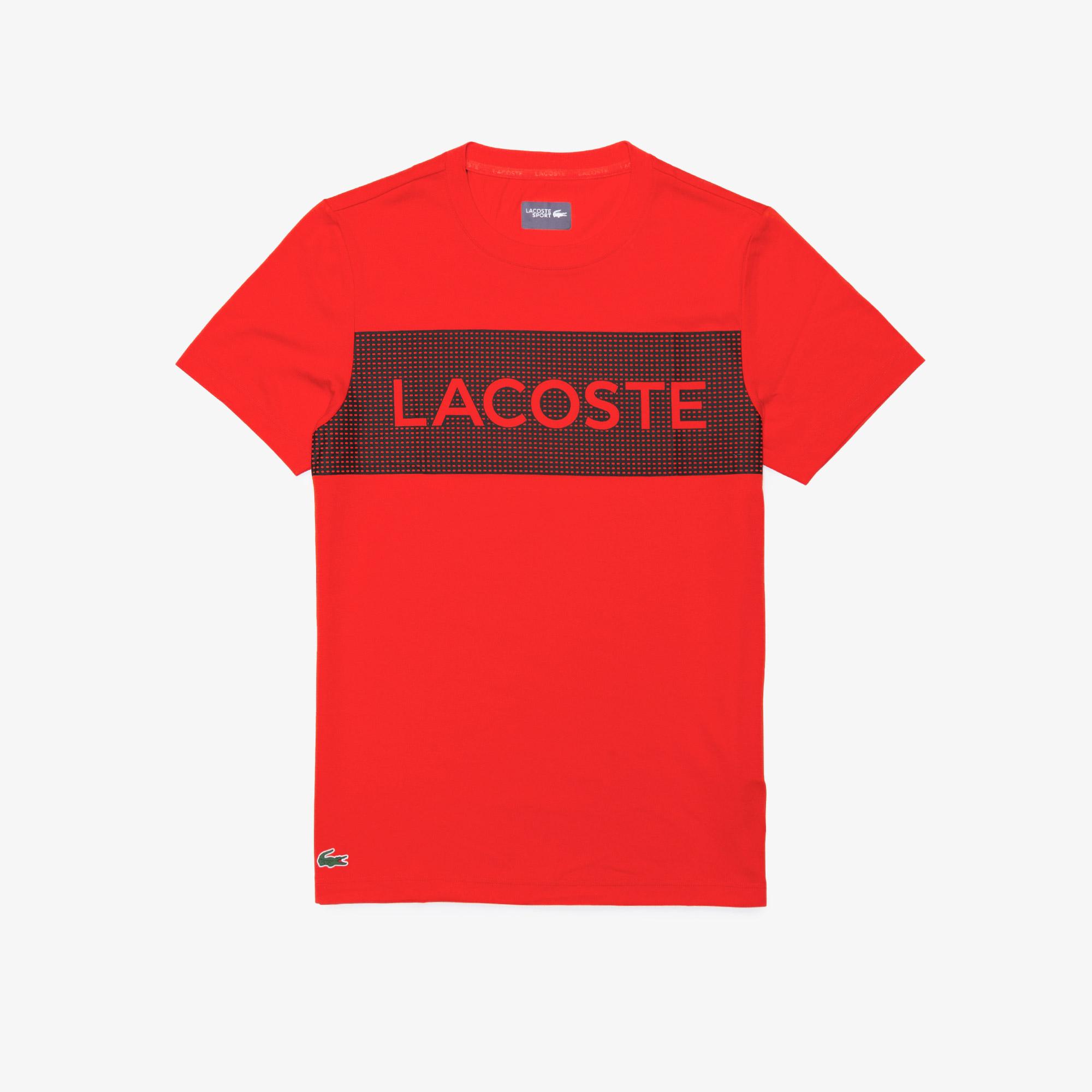 Lacoste Męski Sportowy T-Shirt Z Nadrukiem Z Oddychającego Materiału