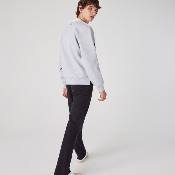 Lacoste Męska Bluza Z Okrągłym Wycięciem Pod Szyją Z Mieszanki Bawełny W Bloki Kolorystyczne