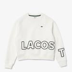 Lacoste LIVE Damska Teksturowana Polarowa Bluza z Nadrukiem Loose Fit