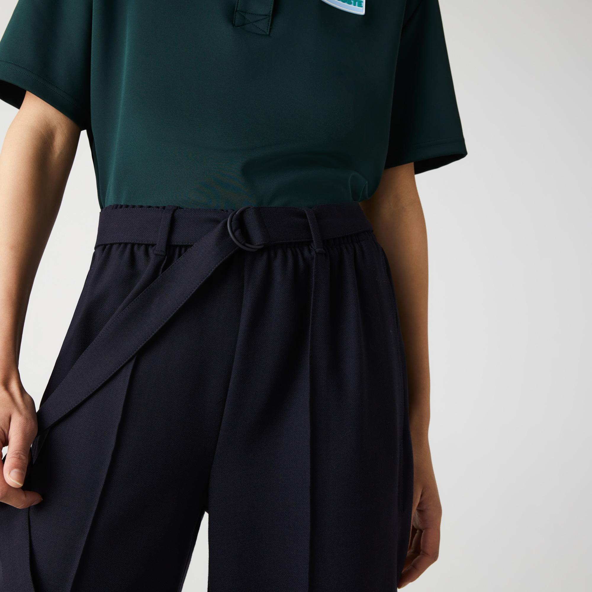 Lacoste Damskie Rozszerzane Spodnie Z Mieszanki Wełny Z Wysokim Stanem