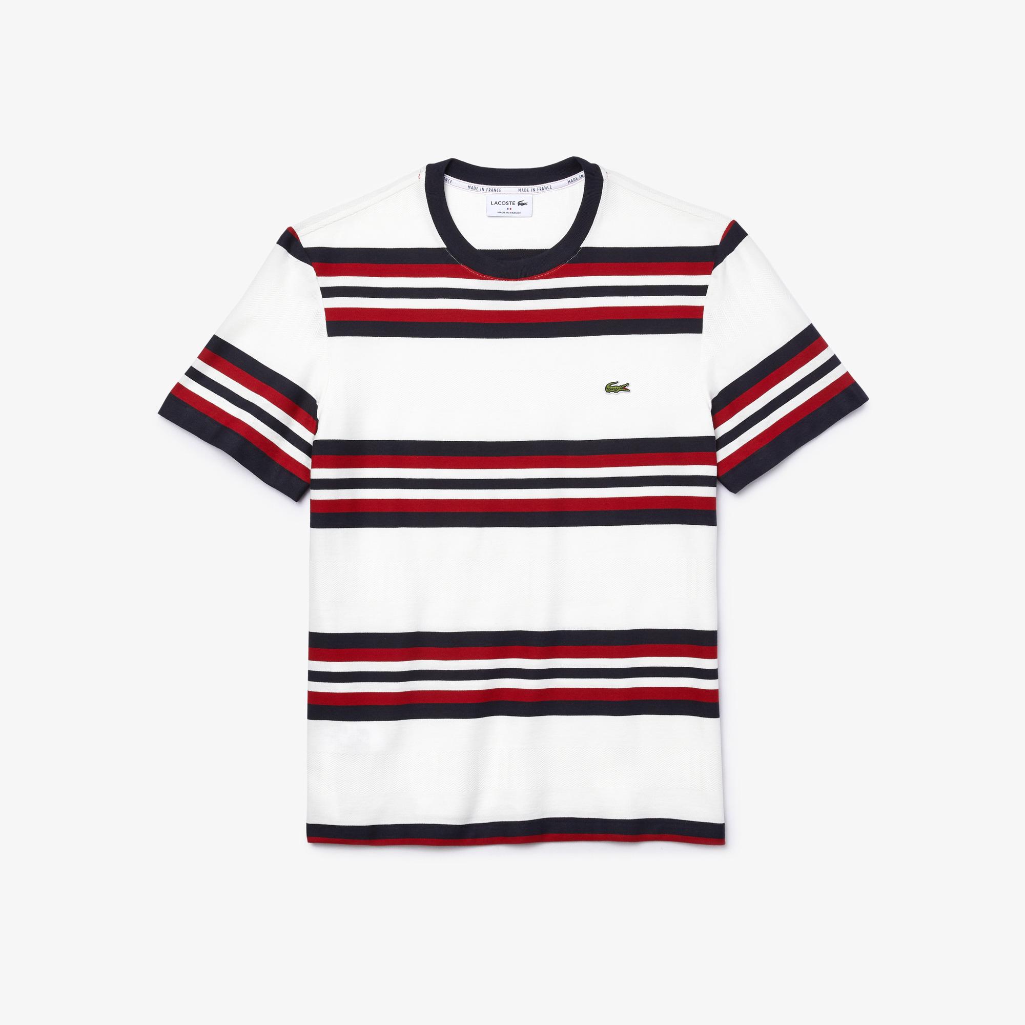 Lacoste Made In France Męski Trójkolorowy Bawełniany T-Shirt W Paski