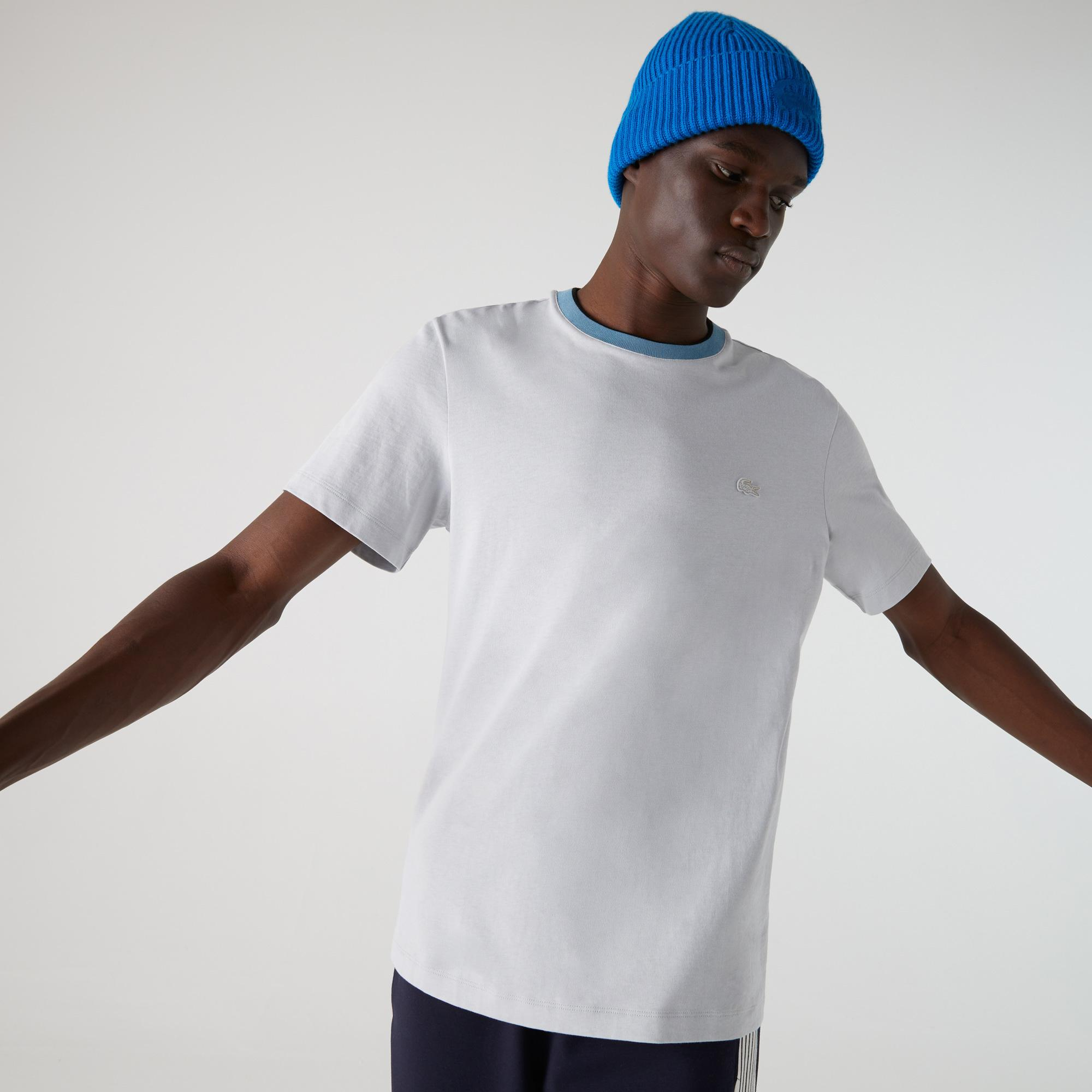 Lacoste Męski Dwukolorowy T-Shirt Z Okrągłym Wycięciem Pod Szyją Z Grubej Bawełny