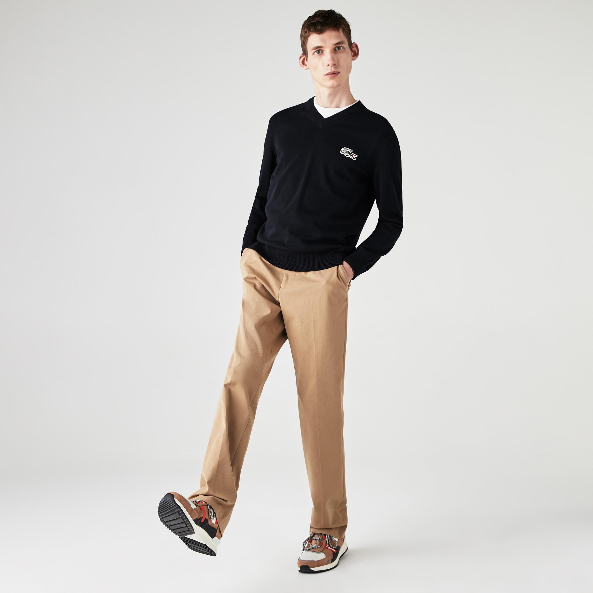 Lacoste x National Geographic Męski Bawełniany Sweter Z Dekoltem W Kształcie Litery V