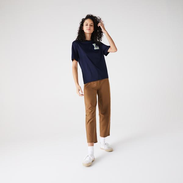 Lacoste Damski Bawełniany T-Shirt Z Okrągłym Wycięciem Pod Szyją Z Naszywką W Uniwersyteckim Stylu