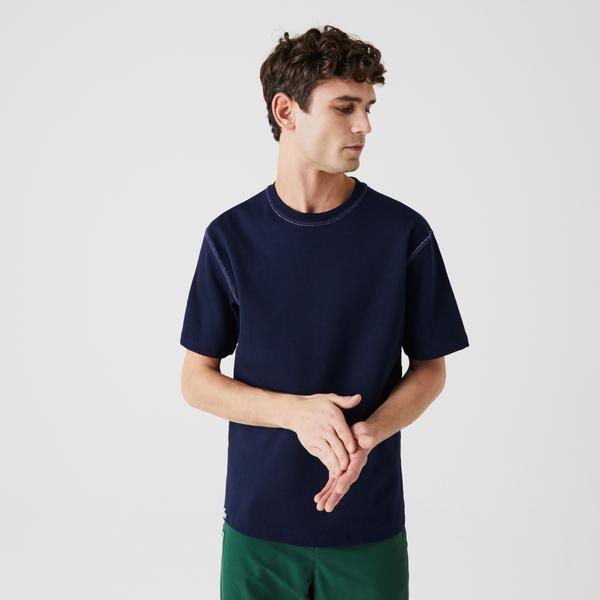 Lacoste Męski Dwustronny T-Shirt Z Piki Z Mieszanki Bawełny