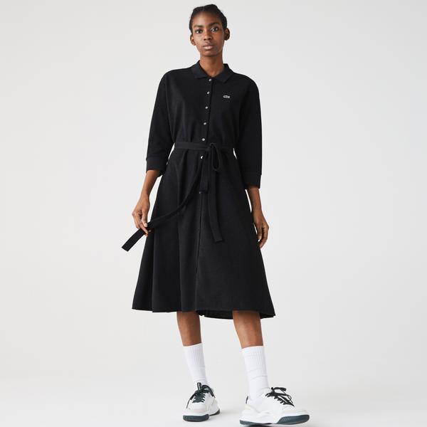 Lacoste Damska Sukienka Polo Zapinana Na Guziki Z Paskiem Z Piki Bawełnianej