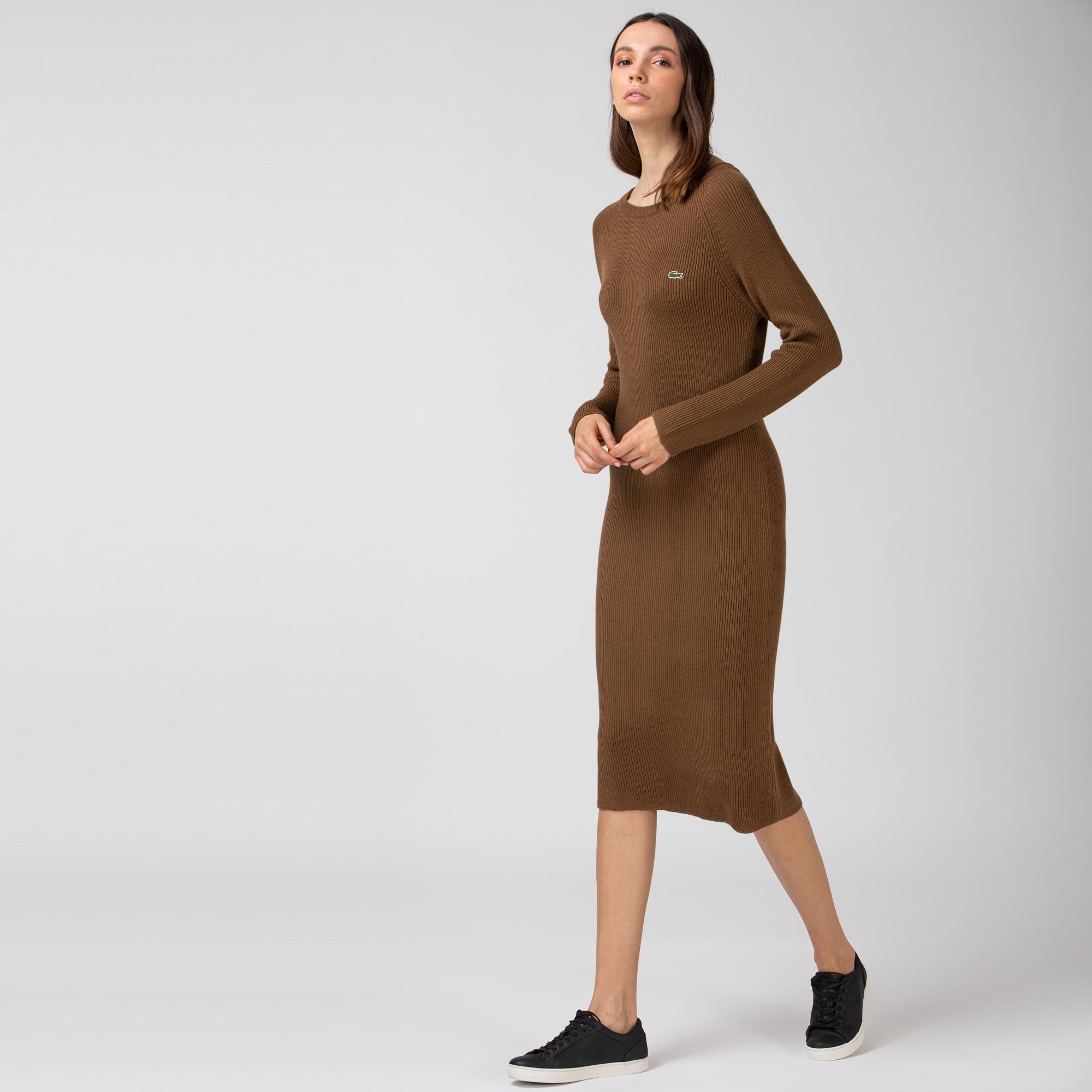 Lacoste Damska Długa Prążkowana Sukienka Sweterkowa Z Mieszanki Wełny