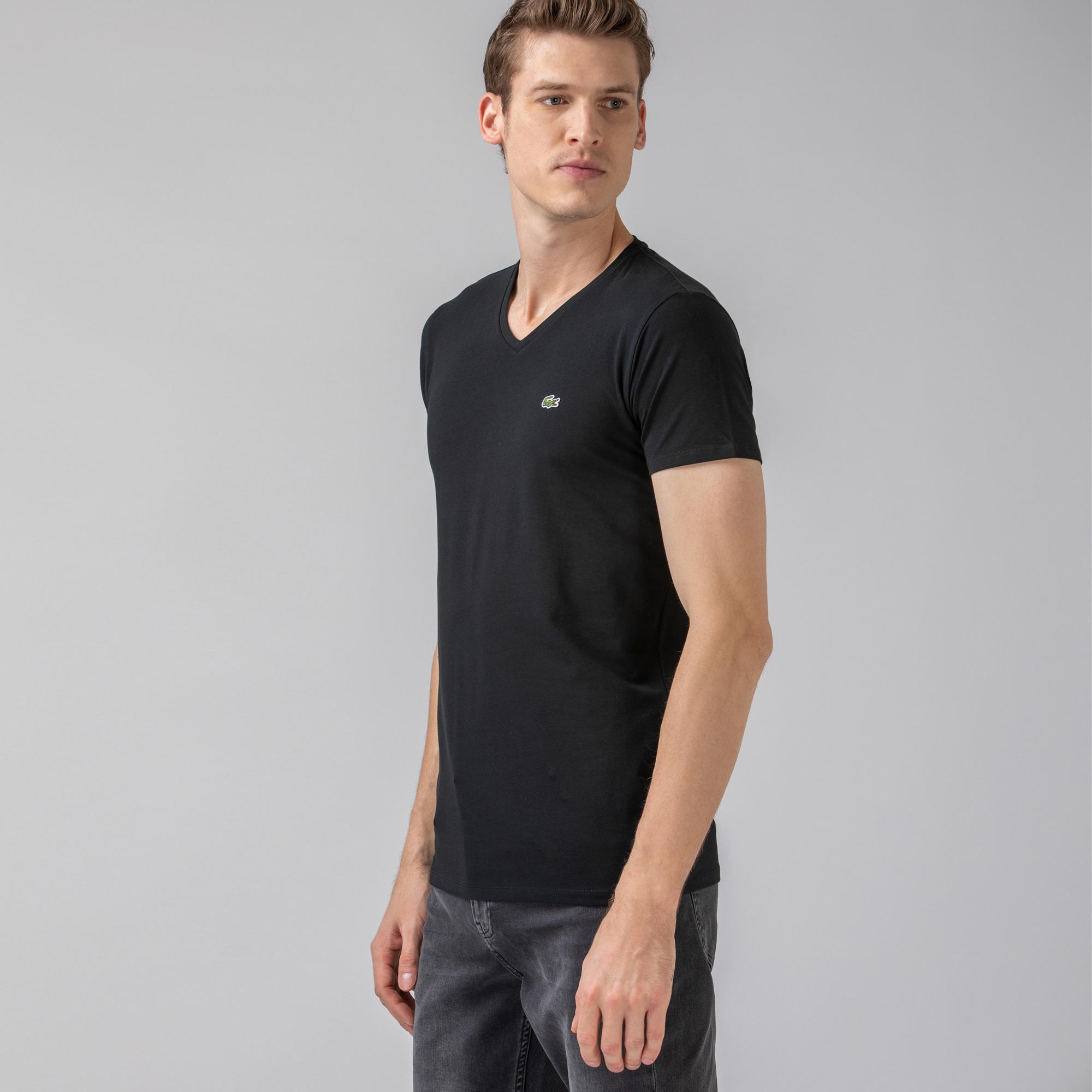 Lacoste Męski T-shirt z dekoltem w kształcie litery V