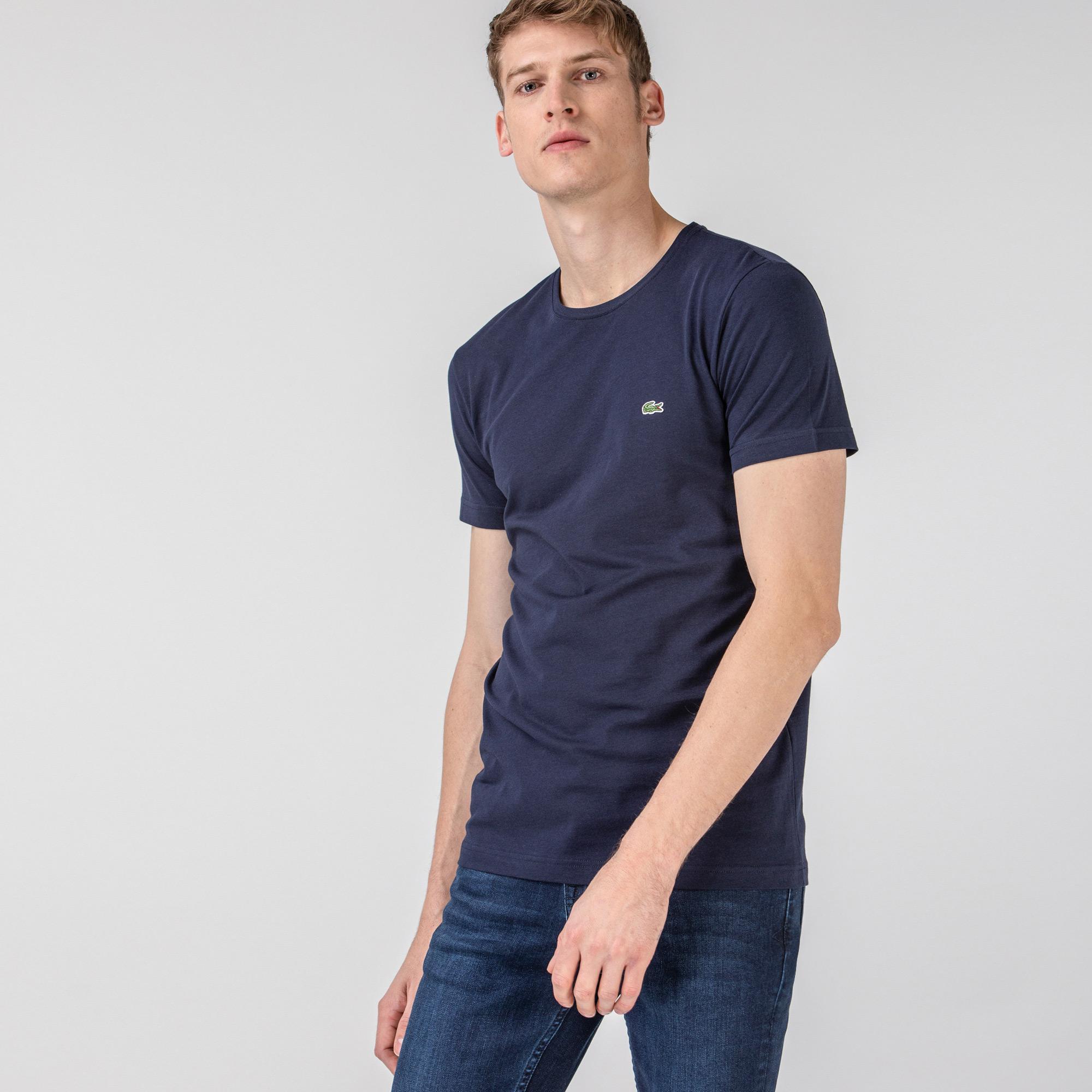 Lacoste Męski T-shirt we wzory z okrągłym dekoltem