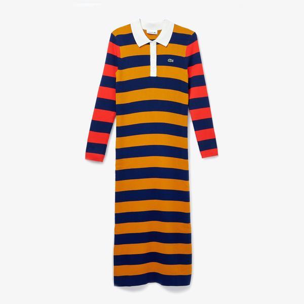 Lacoste Damska dopasowana sukienka polo midi w prążki i paski