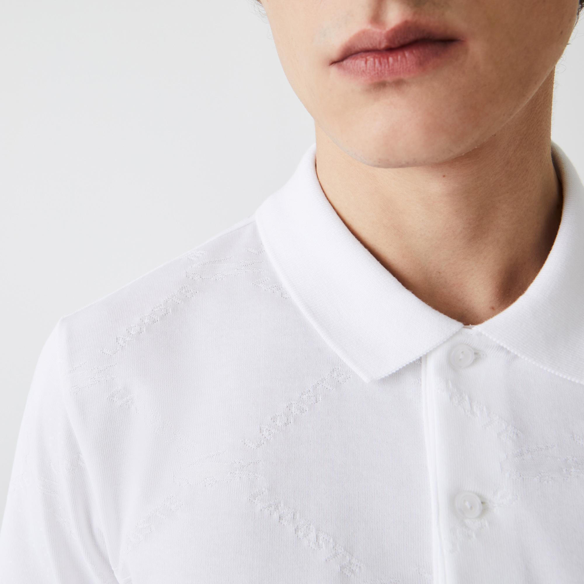 Lacoste L!VE Męska koszulka polo Standard Fit we wzór monogramowy