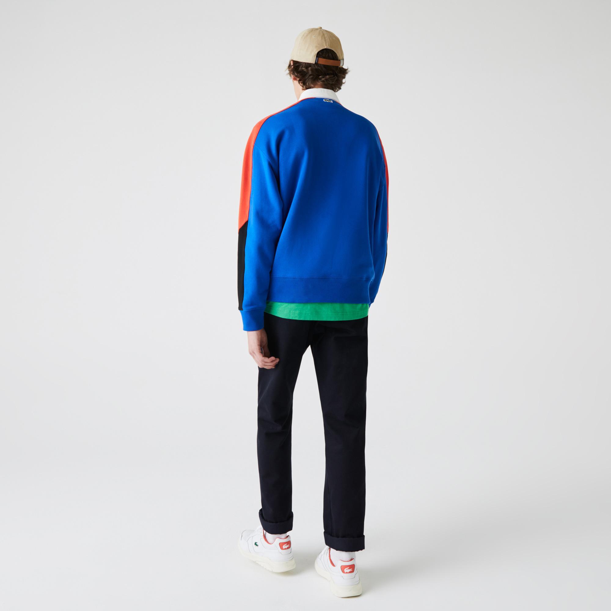 Lacoste L!VE Męska polarowa bluza polo w bloki kolorystyczne