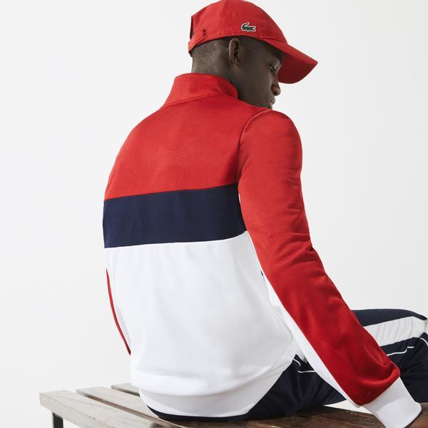 Lacoste SPORT Męska bluza na zamek błyskawiczny w bloki kolorystyczne z odpornej piki