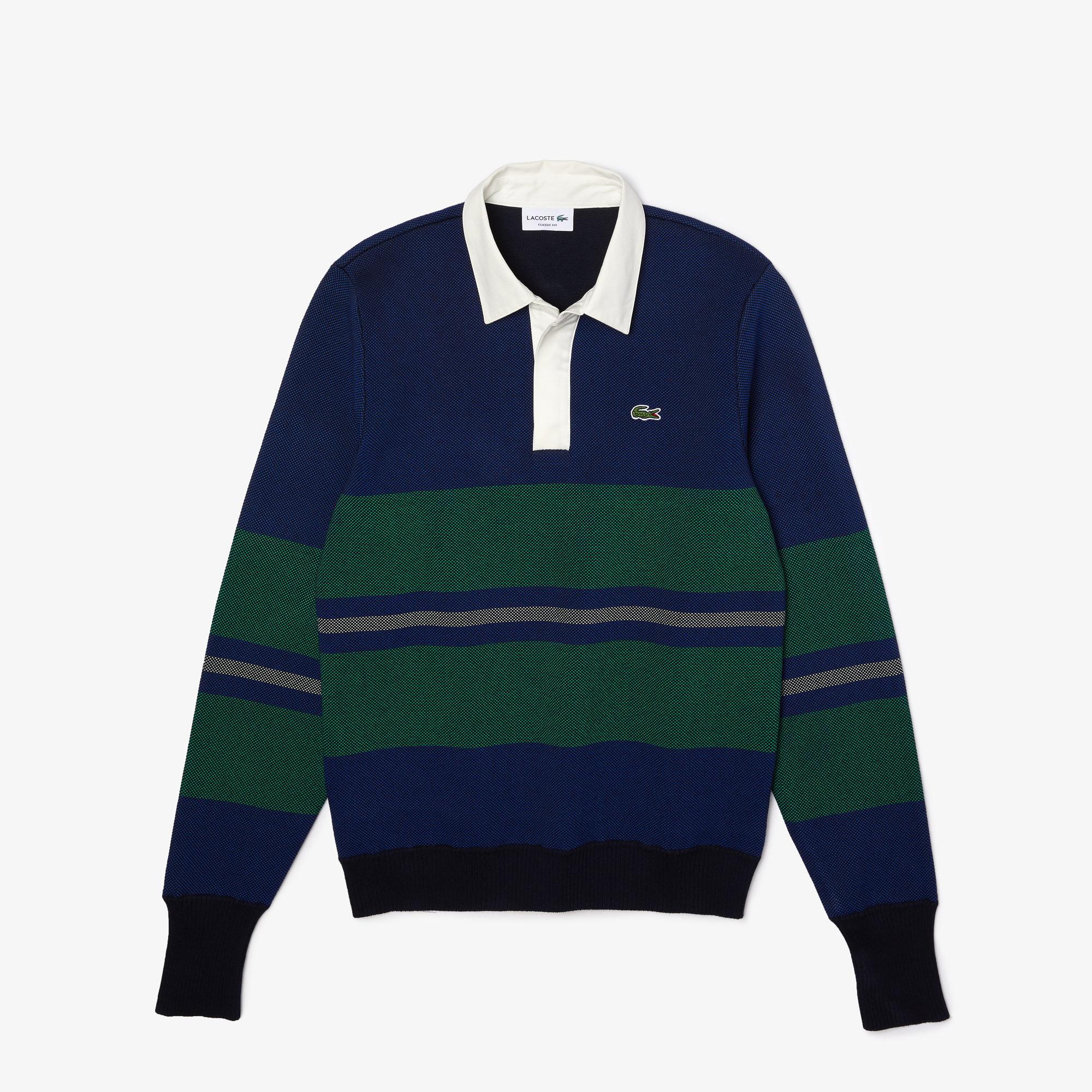 Lacoste Męski sweter w paski z dekoltem w kontrastowych kolorach w stylu rugby
