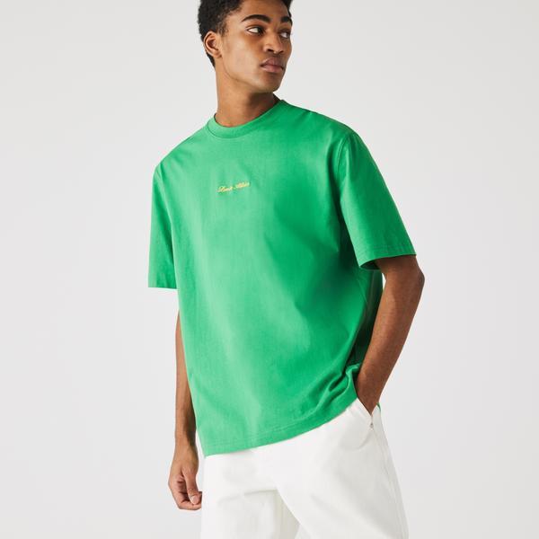 Lacoste L!VE Bawełniany T-shirt Loose Fit unisex ze złotym haftem