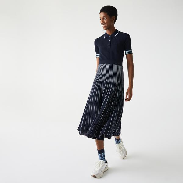 Lacoste Damska bawełniana sukienka polo z plisowanym dołem