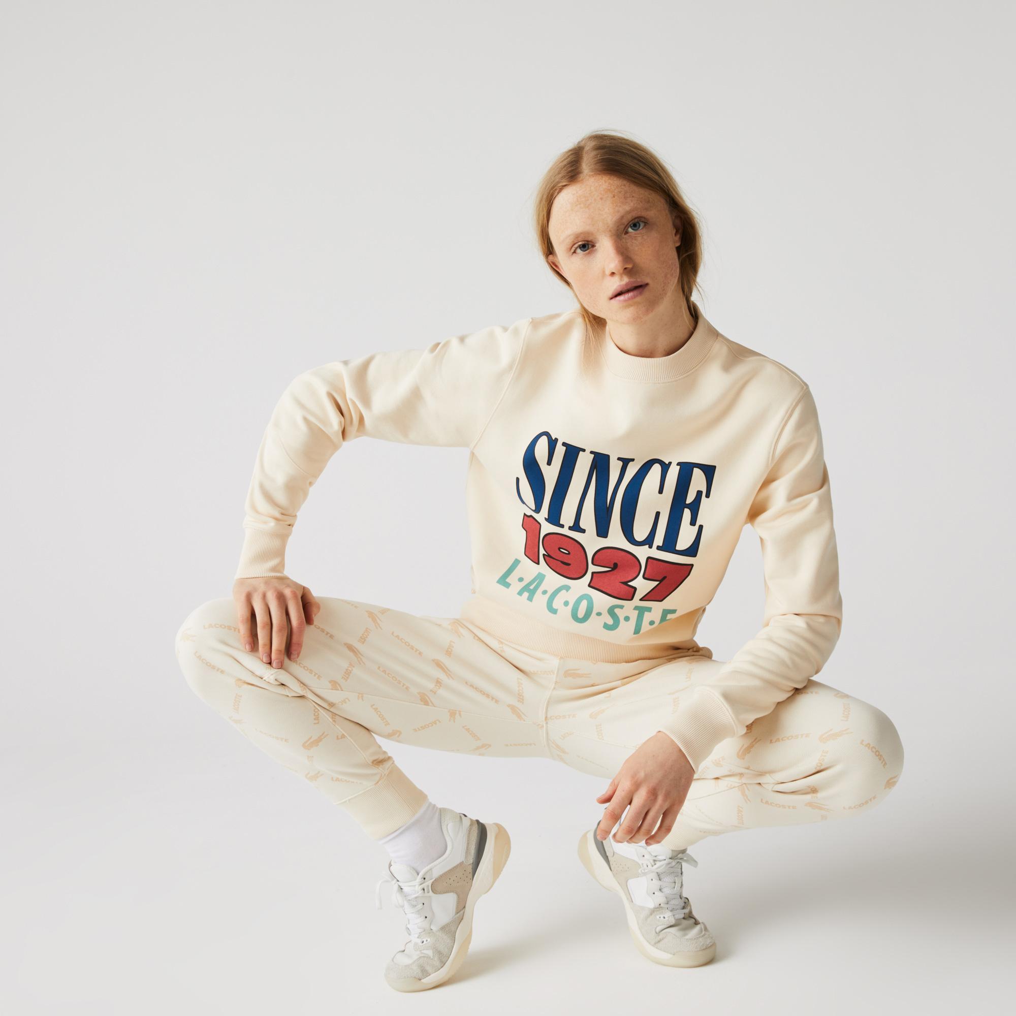 Lacoste L!VE Bluza unisex z nadrukiem z polaru bawełnianego