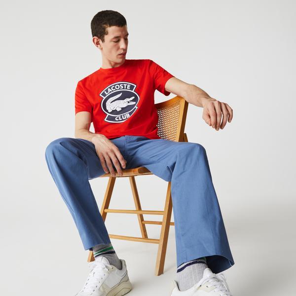 Lacoste Męski bawełniany T-shirt z okrągłym dekoltem i dużą naszywką Lacoste Club