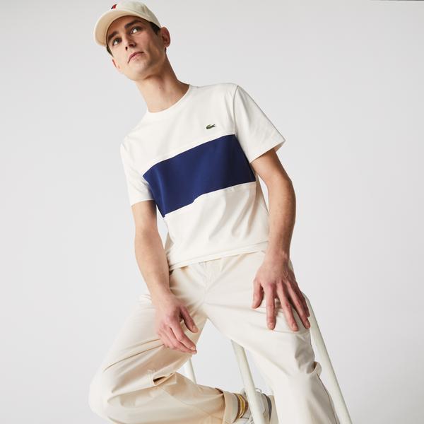 Lacoste Męski bawełniany T-shirt ze wstawkami z piki z okrągłym dekoltem
