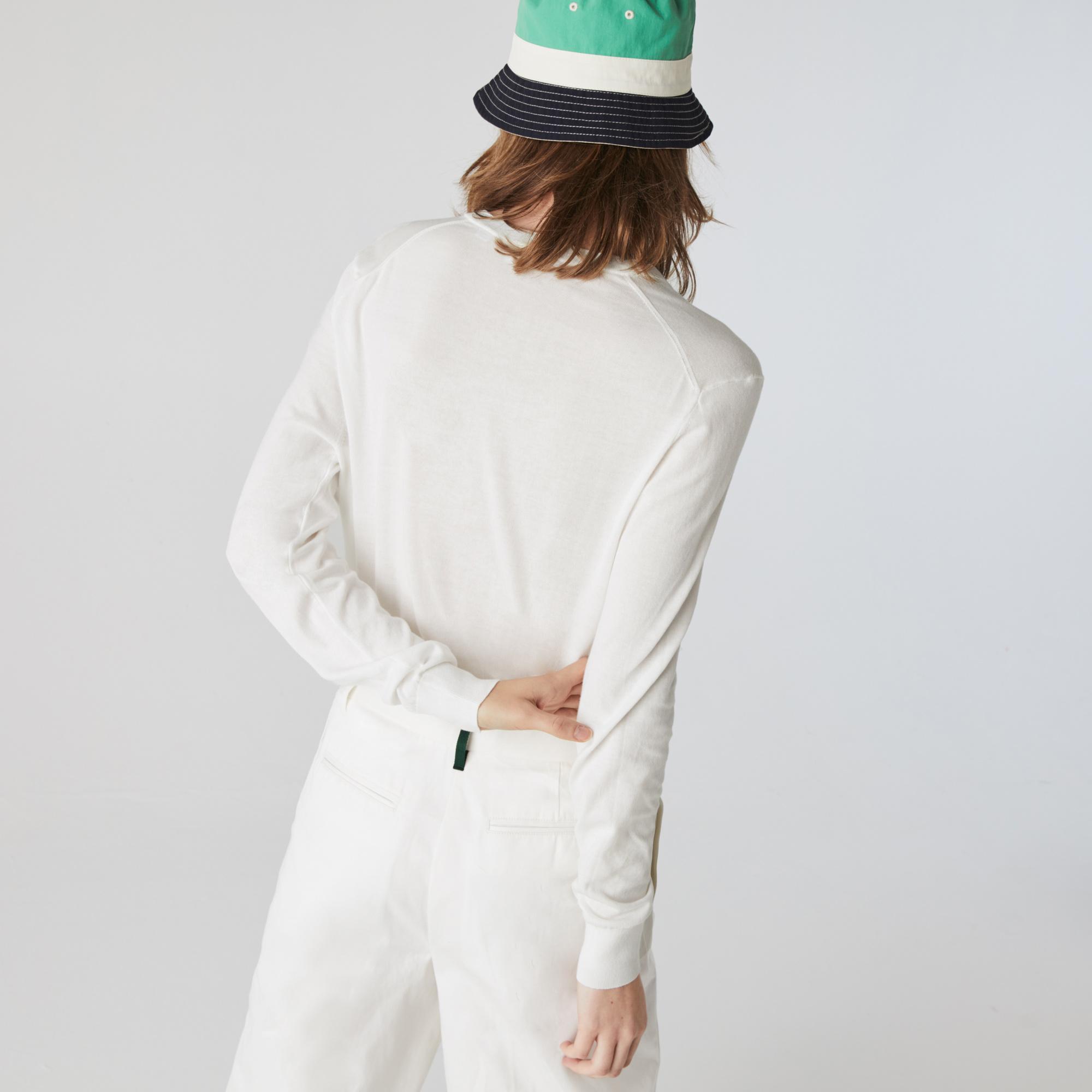 Lacoste Damski luźny sweter z dekoltem w kształcie litery V z bawełny organicznej
