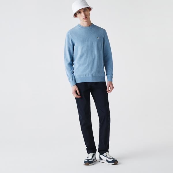 Lacoste Męski sweter z okrągłym dekoltem z bawełny organicznej