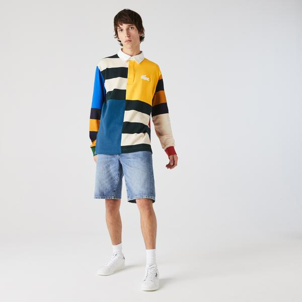 Lacoste L!VE Męska bawełniana koszulka polo Loose Fit w bloki kolorystyczne w stylu rugby