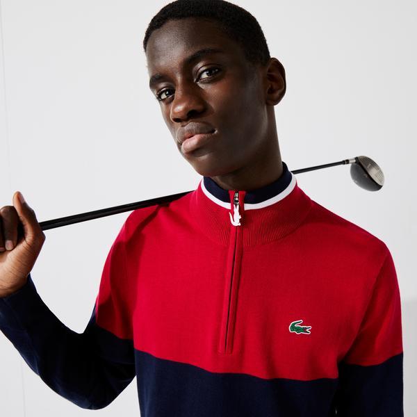 Lacoste SPORT Męski dwukolorowy dzianinowy golf z zamkiem pod szyję