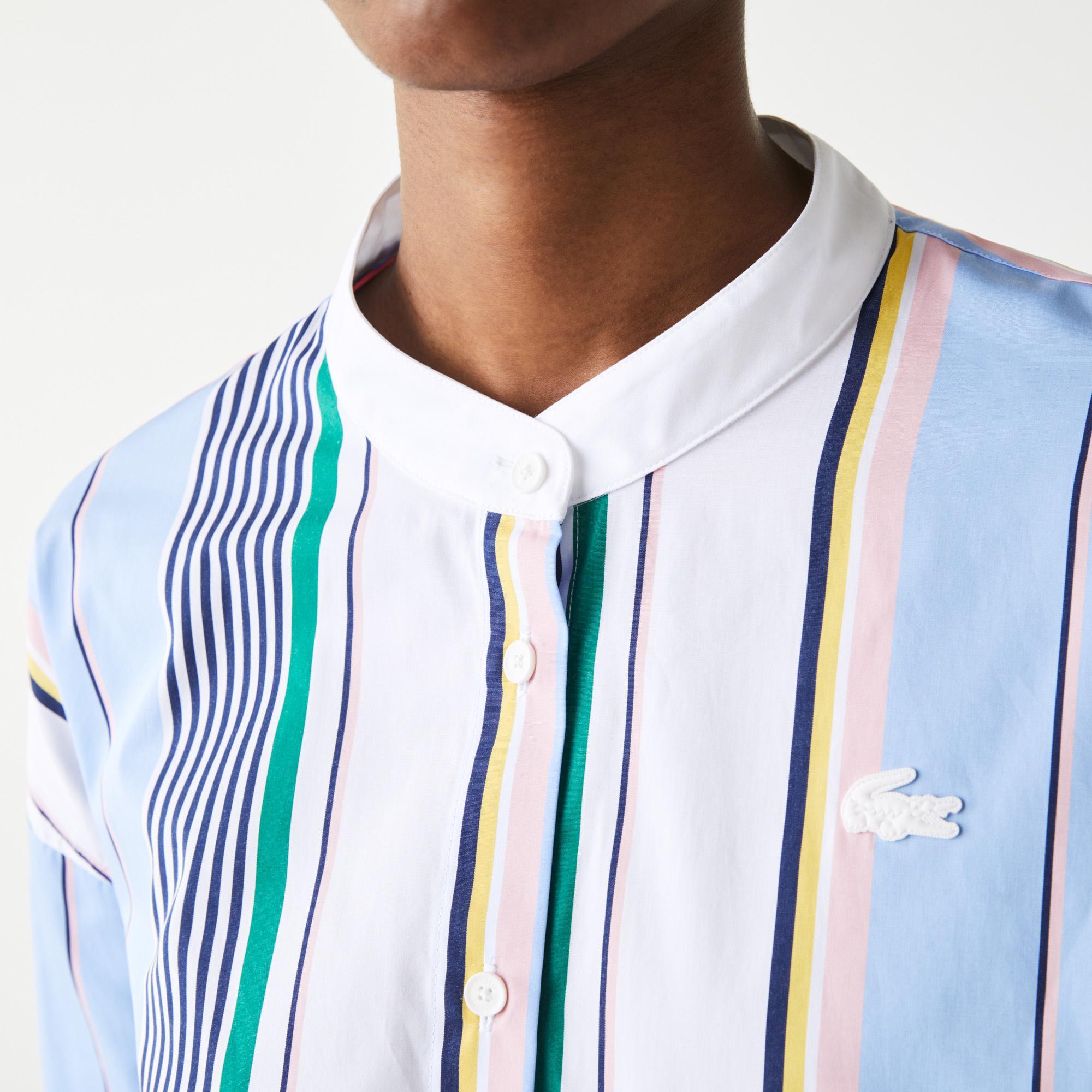 Lacoste L!VE Damska bawełniana koszula Classic Fit w paski z wiązaniem