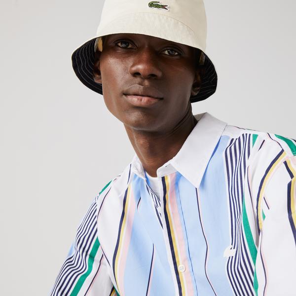 Lacoste L!VE Męska koszula bawełniana Relaxed Fit w paski o różnej grubości