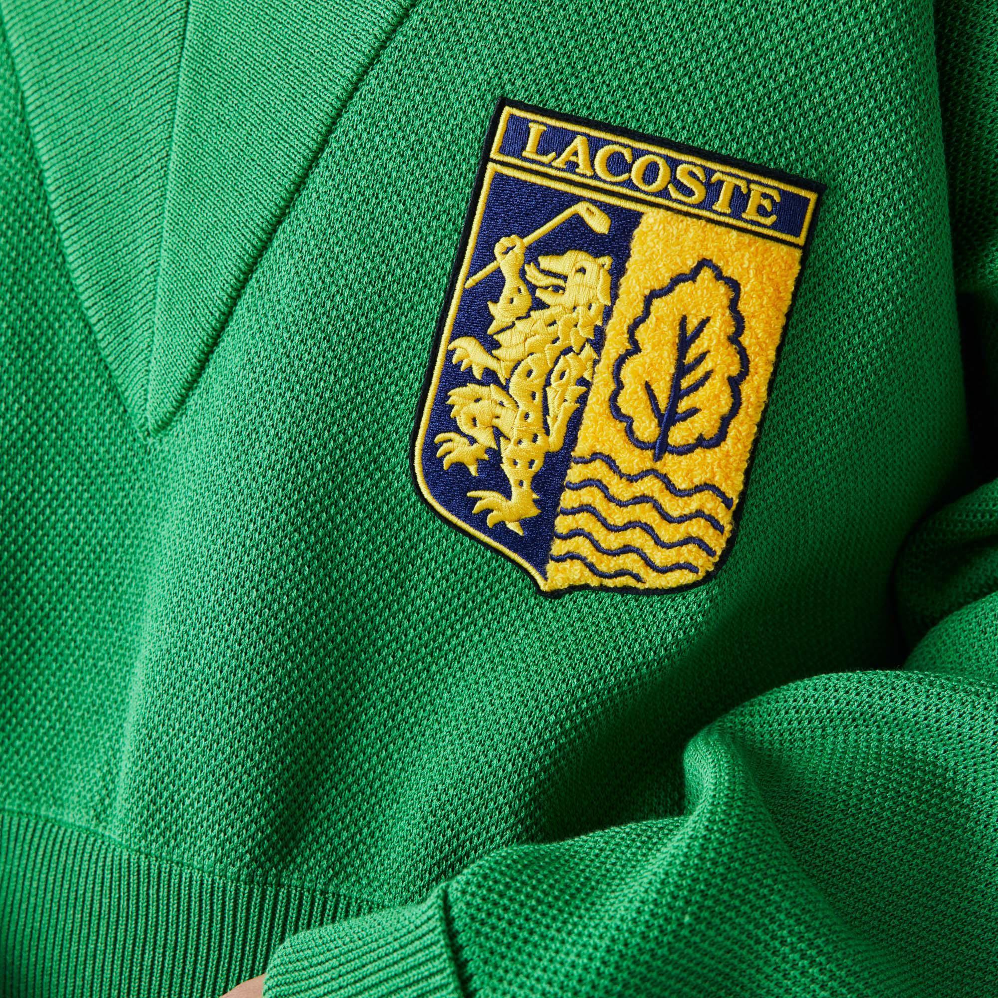 Lacoste L!VE Damski sweter z naszywką z herbem z dekoltem w kształcie litery V