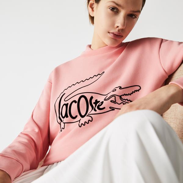 Lacoste Damska bluza z bawełnianego polaru z okrągłym dekoltem i nadrukiem krokodyla