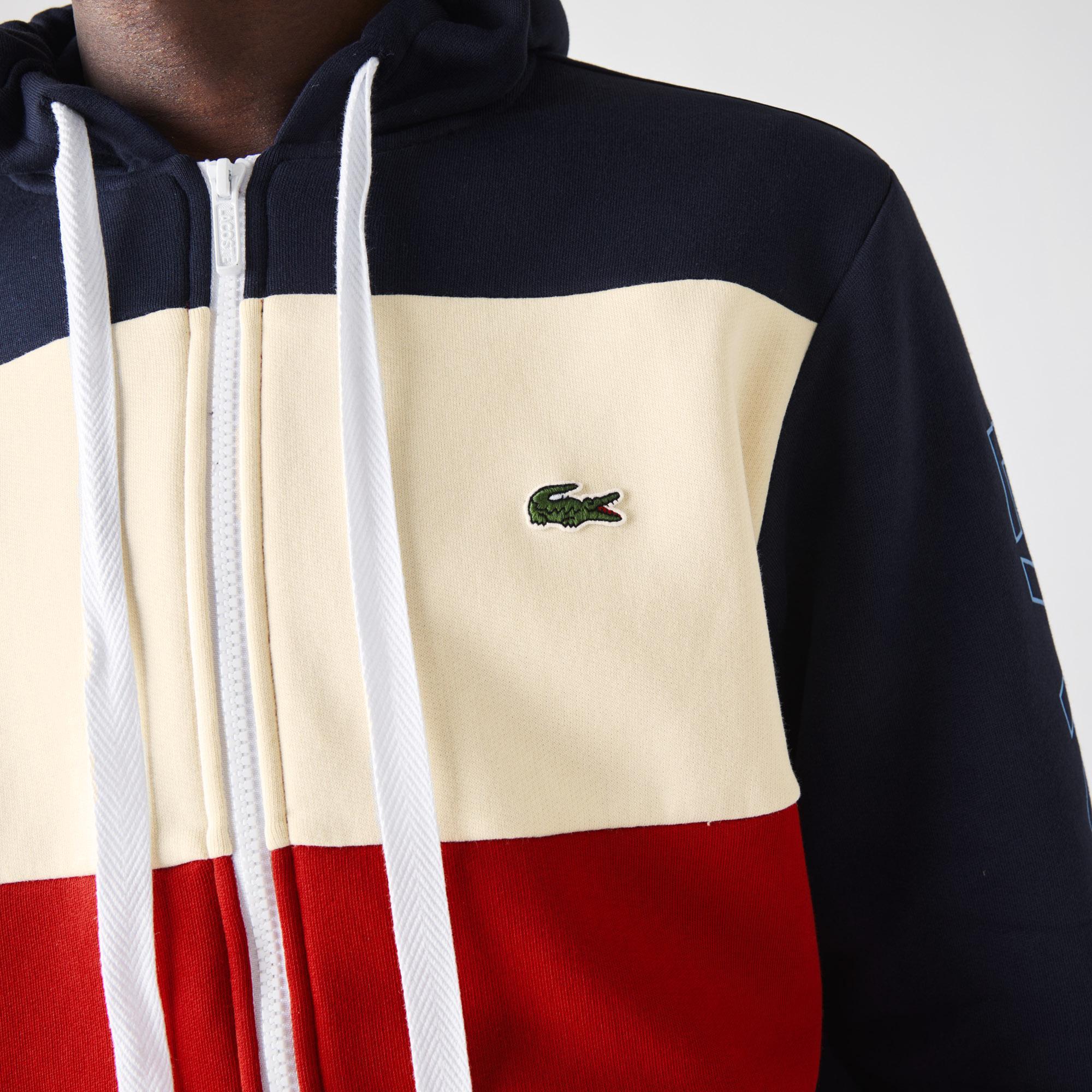 Lacoste Męska polarowa bluza z kapturem w bloki kolorystyczne na zamek błyskawiczny